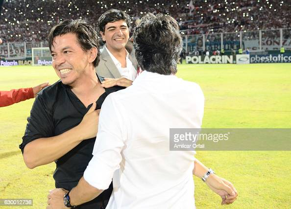 Marcelo Gallardo coach of River Plate celebrates after a final match between River Plate and Rosario Central as part of Copa Argentina 2016 at Mario...