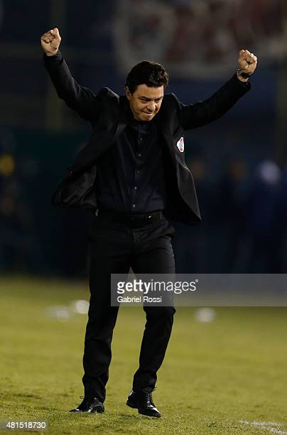 Marcelo Gallardo coach of River Plate celebrates qualifying to the final after a second leg Semi Final match between Guarani and River Plate as part...