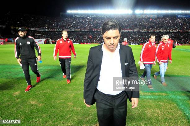 Marcelo Gallardo coach of River Plate enters to the pitch prior to a match between Colon and River Plate as part of Torneo Primera Division 2016/17...