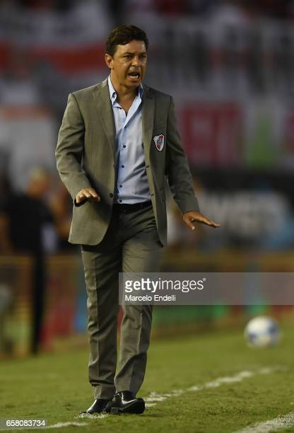 Marcelo Gallardo coach of River Plate gestures during a match between River Plate and Belgrano as part of Torneo Primera Division 2016/17 at...