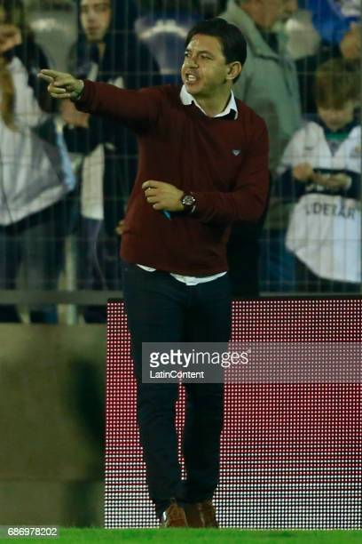 Marcelo Gallardo coach of River Plate gestures during a match between Gimnasia y Esgrima La Plata and River Plate as part of Torneo Primera Division...