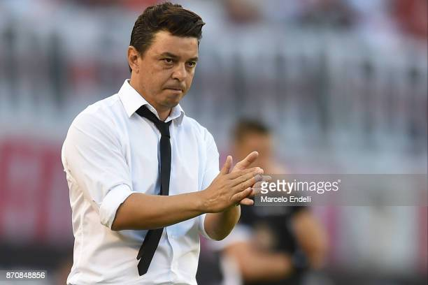 Marcelo Gallardo coach of River Plate gestures during a match between River Plate and Boca Juniors as part of the Superliga 2017/18 at Monumental...