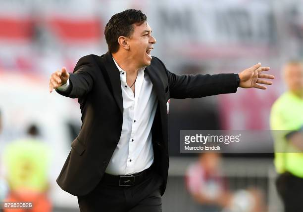 Marcelo Gallardo coach of River Plate gestures during a match between River and Newell's Old Boys as part of Superliga 2017/18 at Monumental Stadium...