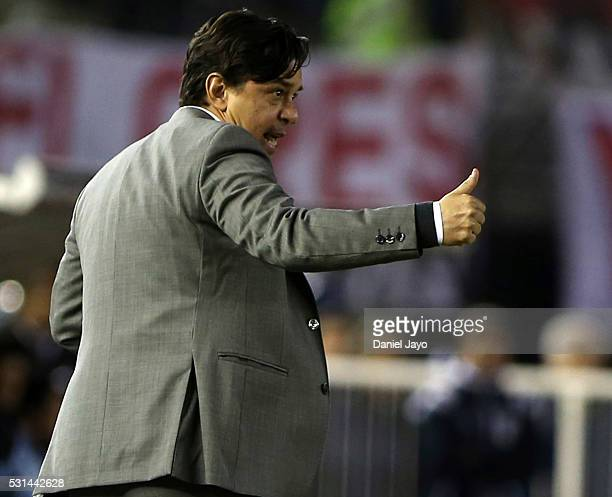 Marcelo Gallardo coach of River Plate gives directions to his players during a match between River Plate and Gimnasia y Esgrima La Plata as part of...