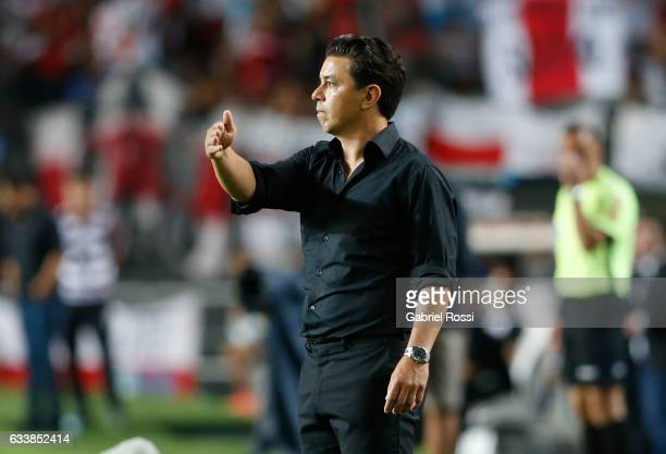 Marcelo Gallardo coach of River Plate gives instructions to his players during a match between River Plate and Lanus as part of Supercopa Argentina...