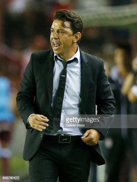 Marcelo Gallardo coach of River Plate gives instructions to his players during a match between Lanus and River Plate as part of Torneo Primera...