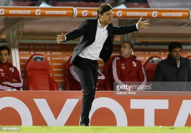 Marcelo Gallardo coach of River Plate gives instructions to his players during a group stage match between River Plate and Emelec as part of Copa...