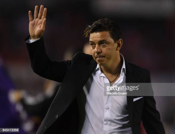 Marcelo Gallardo coach of River Plate greets the fans during a match between River Plate and Banfield as part of Superliga 2017/18 at Monumental...