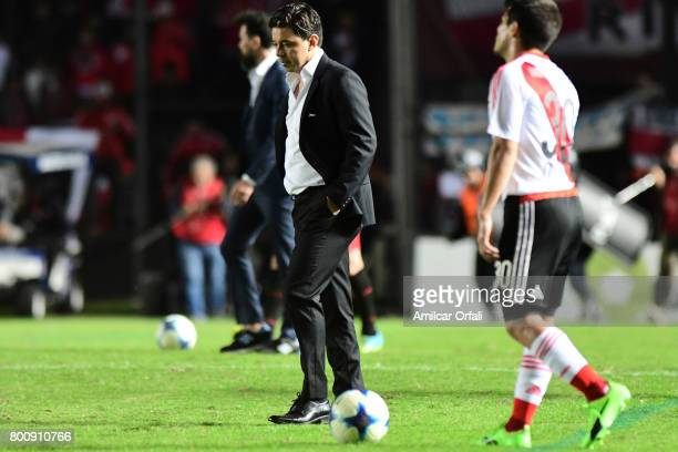 Marcelo Gallardo coach of River Plate looks dejected after a match between Colon and River Plate as part of Torneo Primera Division 2016/17 at...