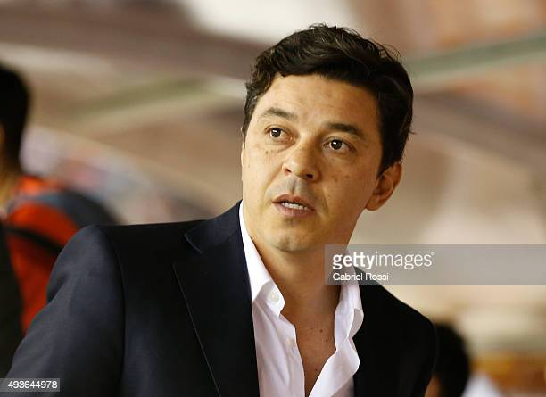 Marcelo Gallardo coach of River Plate looks on during a match between River Plate and Chapecoense as part of Quarter Finals of Copa Sudamericana 2015...