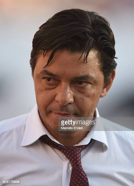 Marcelo Gallardo coach of River Plate looks on during a match between River Plate and Boca Juniors as part of Torneo Primera Division 2016/17 at...