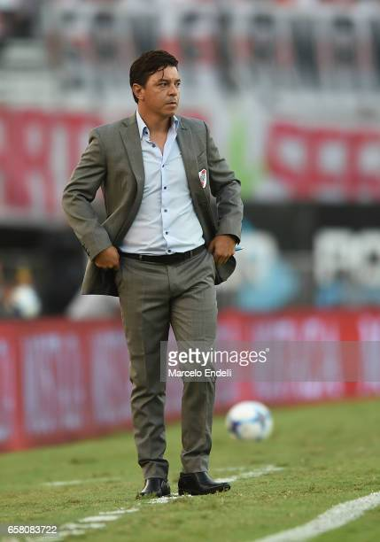 Marcelo Gallardo coach of River Plate looks on during a match between River Plate and Belgrano as part of Torneo Primera Division 2016/17 at...