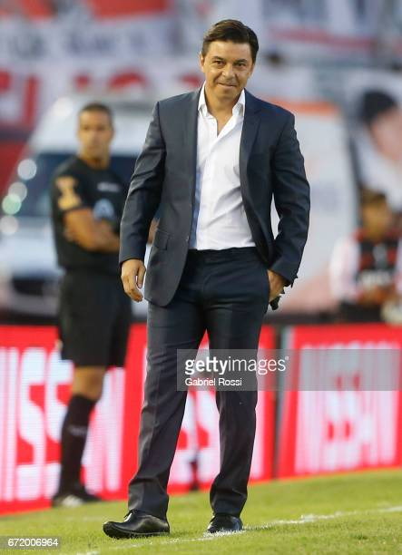 Marcelo Gallardo coach of River Plate looks on during a match between River Plate and Sarmiento as part of Torneo Primera Division 2016/17 at...