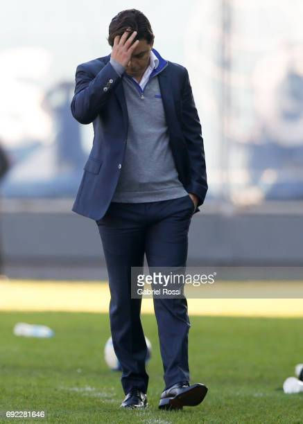 Marcelo Gallardo coach of River Plate looks on during a match between San Lorenzo and River Plate as part of Torneo Primera Division 2016/17 at Pedro...