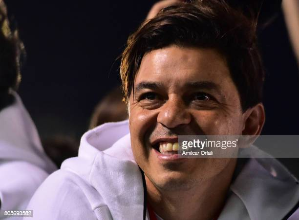 Marcelo Gallardo coach of River Plate looks on during Fernando Cavenaghi's farewell match at Monumental Stadium on July 01 2017 in Buenos Aires...
