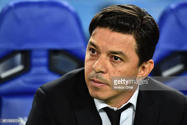 Marcelo Gallardo coach of River Plate looks on during the FIFA Club World Cup semi final match between Sanfrecce Hiroshima and River Plate at Osaka...