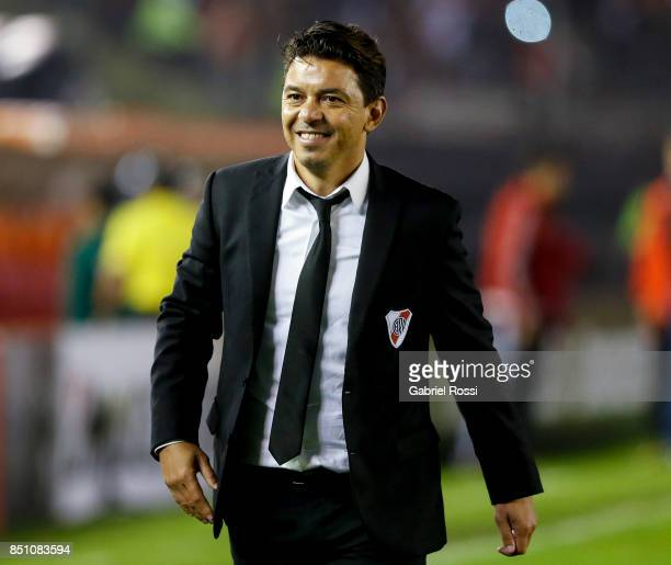 Marcelo Gallardo coach of River Plate of River Plate celebrates after wining the second leg match between River Plate and Wilstermann as part of the...