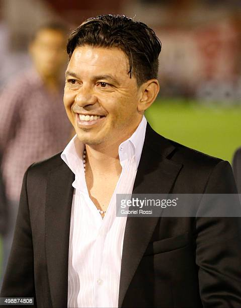 Marcelo Gallardo coach of River Plate smiles after a second leg match between Huracan and River Plate as part of Semi Finals of Copa Sudamericana...