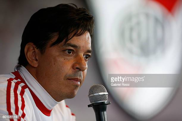 Marcelo Gallardo coach of River Plate speaks during a press conference at River Plate's training camp on September 09 2016 in Ezeiza Argentina