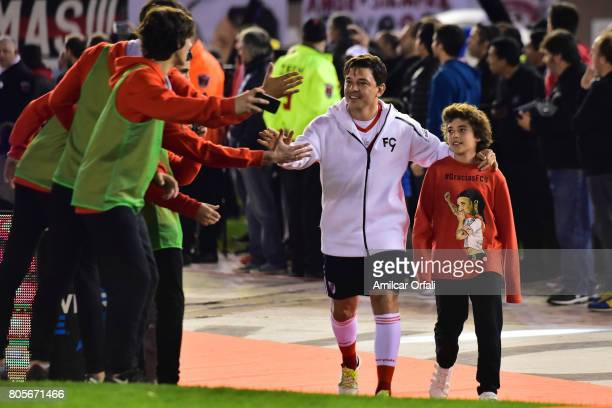 Marcelo Gallardo coach of River Plate walks onto the field prior Fernando Cavenaghi's farewell match at Monumental Stadium on July 01 2017 in Buenos...