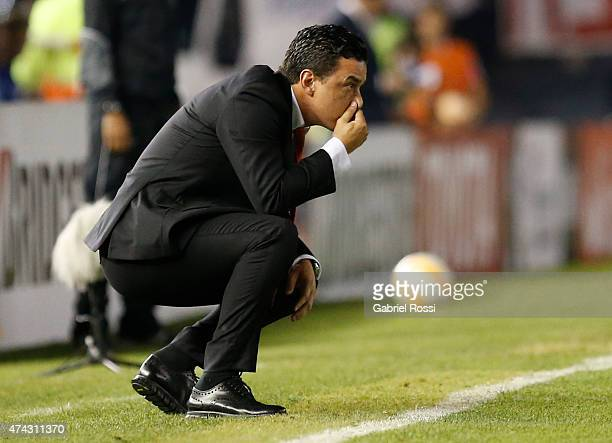 Marcelo Gallardo head coach of River Plate looks on during a first leg match between River Plate and Cruzeiro as part of quarterfinals of Copa...