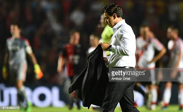 Marcelo Gallardo head coach of River Plate walks off the field after a match between Colon and River Plate as part of Torneo de Transicion 2016 at...