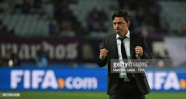 Marcelo Gallardo manager of River Plate celebrates his teams winduring the FIFA Club World Cup Semi Final match between Sanfrecce Hiroshima and River...