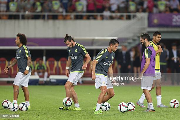 Marcelo Gareth Bale Cristiano Ronaldo and Isco of Real Madrid during the prematch trainning of International Champions Cup China 2015 between Real...