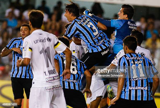 Marcelo Grohe goalkeeper of Gremio in action during the match between Santos and Gremio for the Brazilian Series A 2014 at Vila Belmiro stadium on...
