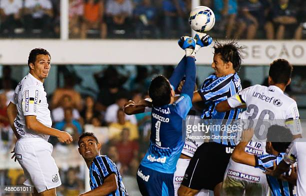 Marcelo Grohe goalkeeper of Santos in action during the match between Santos and Gremio for the Brazilian Series A 2014 at Vila Belmiro stadium on...