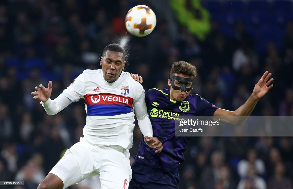 Marcelo Guedes of Lyon, Dominic Calvert Lewin of Everton during the UEFA Europa League group E match between Olympique Lyonnais (OL) and Everton FC at Groupama Stadium on November 2, 2017 in Lyon, France.