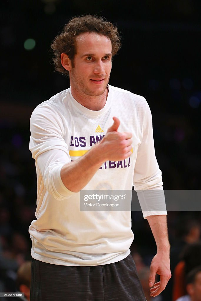 Marcelo Huertas #9 of the Los Angeles Lakers gives a thumbs up during warm-up prior to the NBA game between and the Phoenix Suns and the Los Angeles Lakers at Staples Center on January 3, 2016 in Los Angeles, California. The Lakers defeated the Suns 97-77.