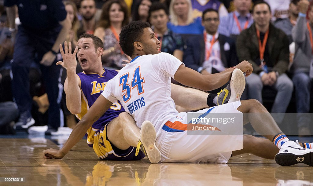 Marcelo Huertas #9 of the Los Angeles Lakers reacts after he lost ball to <a gi-track='captionPersonalityLinkClicked' href=/galleries/search?phrase=Josh+Huestis&family=editorial&specificpeople=7544566 ng-click='$event.stopPropagation()'>Josh Huestis</a> #34 of the Oklahoma City Thunder l during a NBA game at the Chesapeake Energy Arena on April 11, 2016 in Oklahoma City, Oklahoma.
