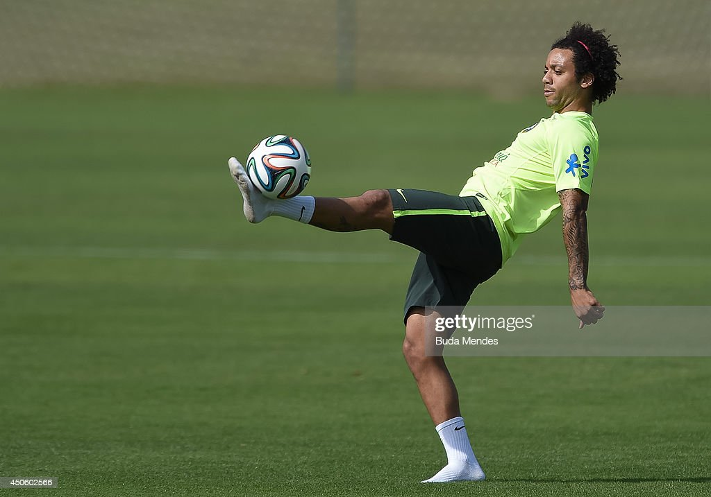 Marcelo in action during a training session of the Brazilian national football team at the squad's Granja Comary training complex, on June 14, 2014 in Teresopolis, 90 km from downtown Rio de Janeiro, Brazil.
