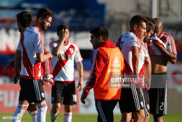 Marcelo Larrondo Camilo Mayada Carlos Auzqui Leonardo Ponzio and Jonathan Maidana of River Plate leave the field after loosing a match between San...