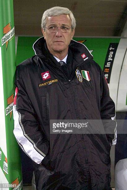 Marcelo Lippi coach of Juventus watches the action during the Serie A match between Juventus and Empoli played at the Stadio Delle Alpi Turin Italy...
