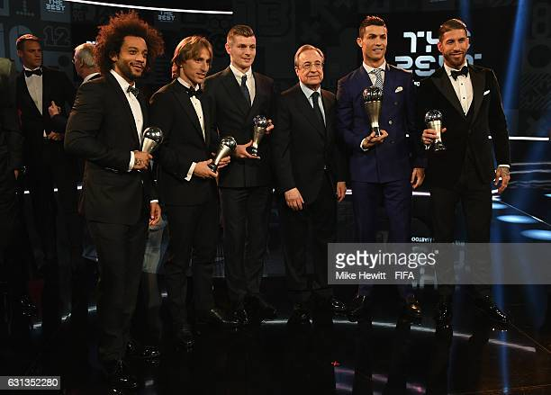 Marcelo Luka Modric Toni Kroos Real Madrid President Florentino Perez Cristiano Ronaldo and Sergio Ramos and pose with their trophies The Best FIFA...
