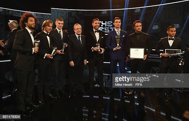 Marcelo Luka Modric Toni Kroos Real Madrid President Florentino Perez Sergio Ramos Cristiano Ronaldo Falcao and Mohd Faiz Subri pose with their...