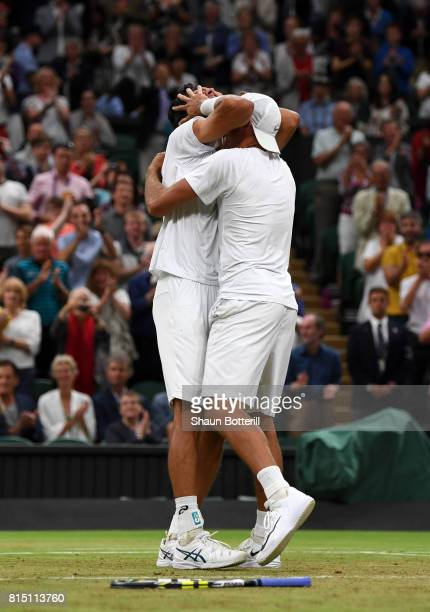 Marcelo Melo of Brazil and Lukasz Kubot of Poland celebrate victory during the Gentlemen's Doubles final against Oliver Marach of Austria and Mate...