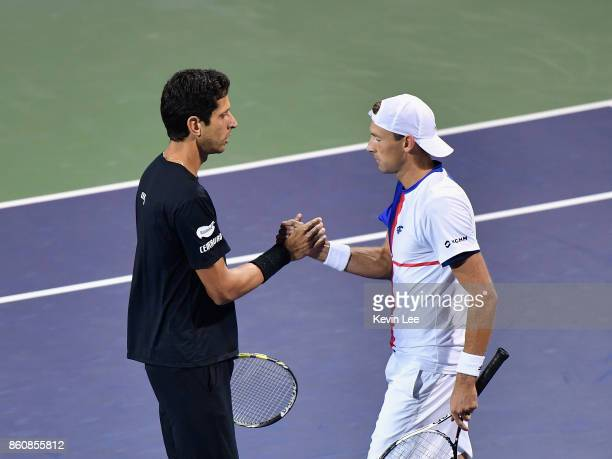 Marcelo Melo of Brazil and Lukasz Kubot of Poland celebrates after winning the match between Marcelo Melo of Brazil and Lukasz Kubot of Poland and...