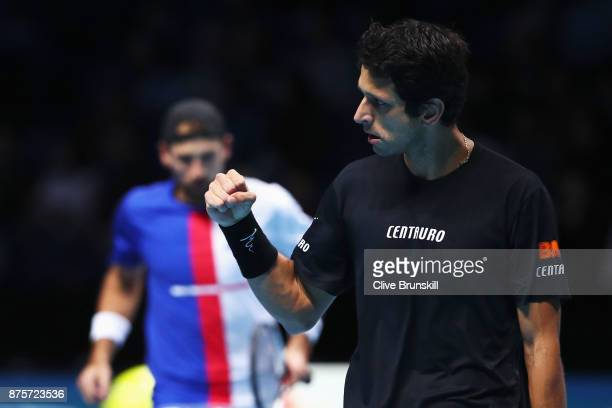 Marcelo Melo of Brazil celebrates after He and Lukasz Kubot win the Doubles Semi Final match against Ryan Harrison of the United States and Michael...
