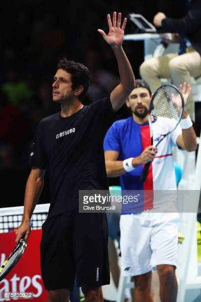 Marcelo Melo of Brazil waves to the crowd after Marcelo Melo and Lukasz Kubot win the Doubles Semi Final match against Ryan Harrison of the United...