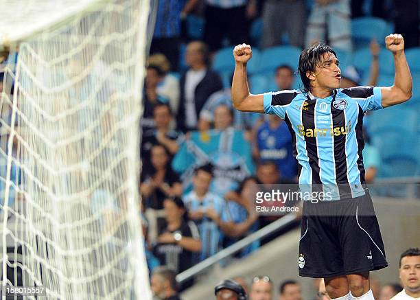 Marcelo Moreno from Grêmio celebrates goal during a match between Gremio and Hamburgo from Germany as part of the inauguration of Arena stadium on...