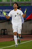 Marcelo Moreno Martins of Bolivia celebrates after scoring the third goal of his team through a penalty kick during the 2015 Copa America Chile Group...