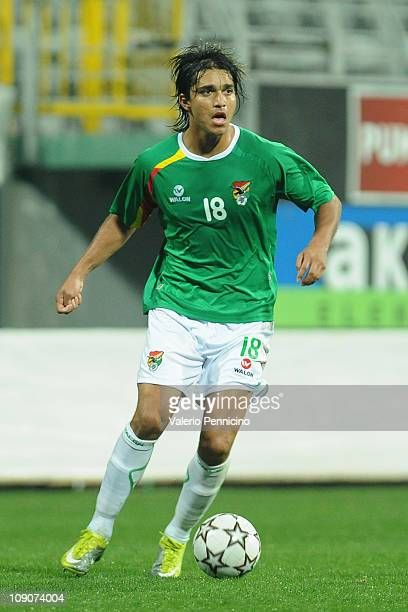 Marcelo Moreno of Bolivia in action during the international friendly match between Latvia and Bolivia at Mardan Sports Complex stadium on February 9...