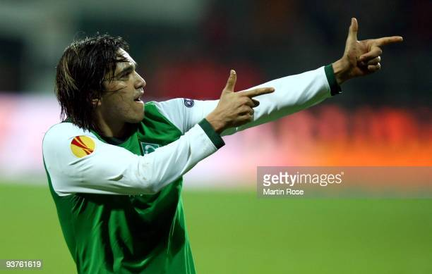 Marcelo Moreno of Bremen celebrates after he scores his team's 3rd goal during the UEFA Europa League Group L match between Werder Bremen and CD...