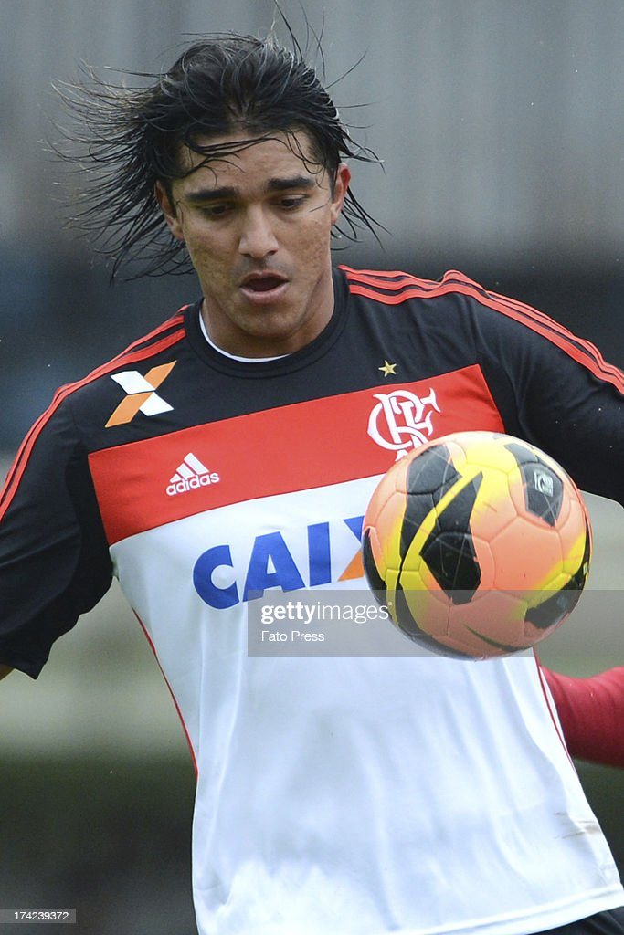 <a gi-track='captionPersonalityLinkClicked' href=/galleries/search?phrase=Marcelo+Moreno+-+Bolivian+Soccer+Player&family=editorial&specificpeople=5004023 ng-click='$event.stopPropagation()'>Marcelo Moreno</a> of Flamengo runs for the ball during the match between Flamengo and Internacional for the Brazilian Serie A 2013 on July 21, 2013 in Centenario Stadium in Caxias do Sul, Brazil