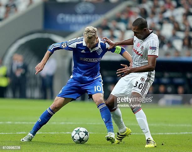 Marcelo of Besiktas in action against Andriy Yarmolonko of Dinamo Kiev during the UEFA Champions League football match between Besiktas and Dinamo...