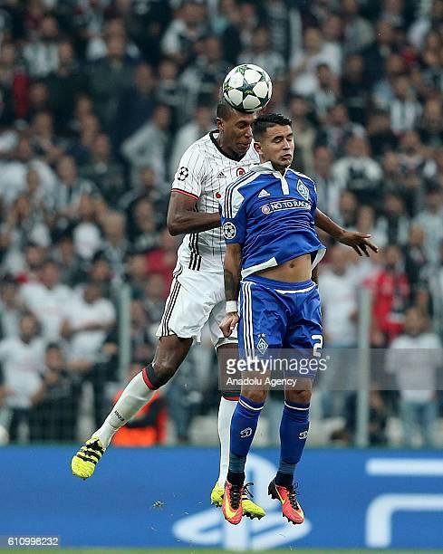 Marcelo of Besiktas in action against Derlis Gonzalez of Dinamo Kiev during the UEFA Champions League football match between Besiktas and Dinamo Kiev...