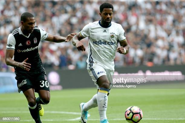 Marcelo of Besiktas in action against Jermain Lens of Fenerbahce during Turkish Spor Toto Super Lig soccer match between Besiktas and Fenerbahce at...